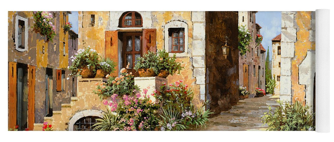 Cityscape Yoga Mat featuring the painting Entrata Al Borgo by Guido Borelli