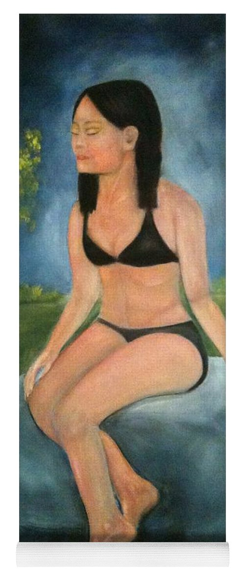 Woman Yoga Mat featuring the painting Evening Swim by Sheila Mashaw