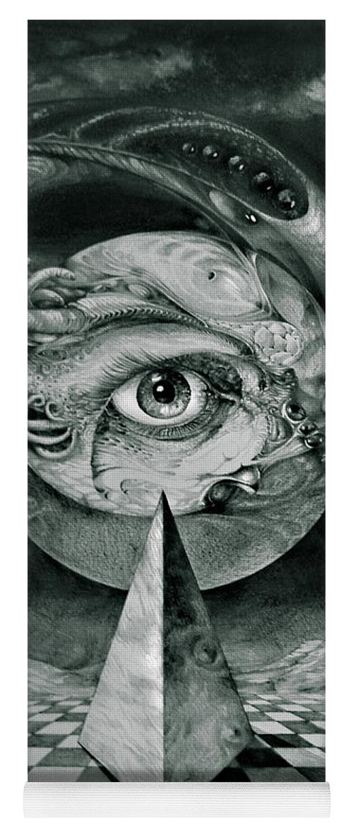 otto Rapp Surrealism Yoga Mat featuring the drawing Eye Of The Dark Star by Otto Rapp