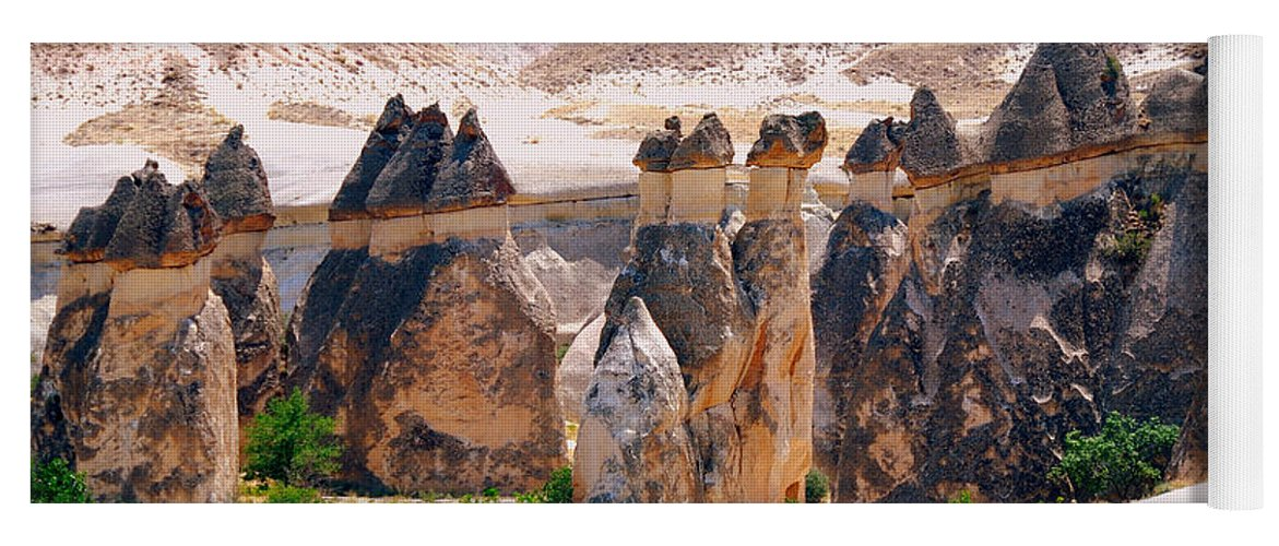 Landscape Yoga Mat featuring the photograph Fairy Chimney Panorama by Apurva Madia