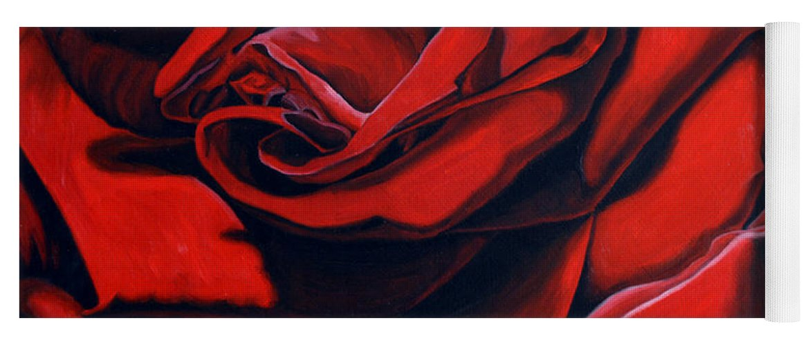 Rose Yoga Mat featuring the painting February Rose by Thu Nguyen