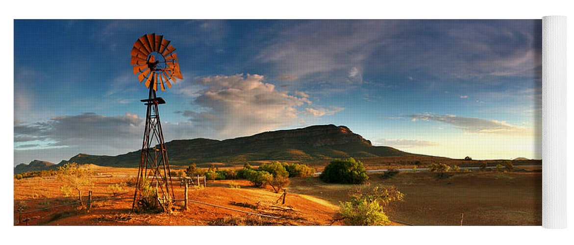First Light Early Morning Windmill Dam Rawnsley Bluff Wilpena Pound Flinders Ranges South Australia Australian Landscape Landscapes Outback Red Earth Blue Sky Dry Arid Harsh Yoga Mat featuring the photograph First Light on Wilpena Pound by Bill Robinson