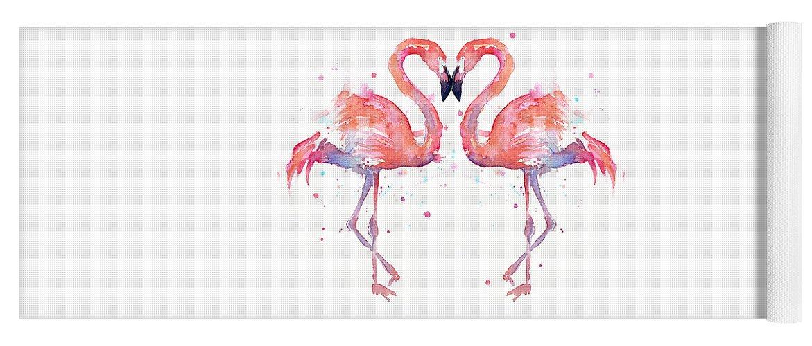 Watercolor Yoga Mat featuring the painting Flamingo Love Watercolor by Olga Shvartsur