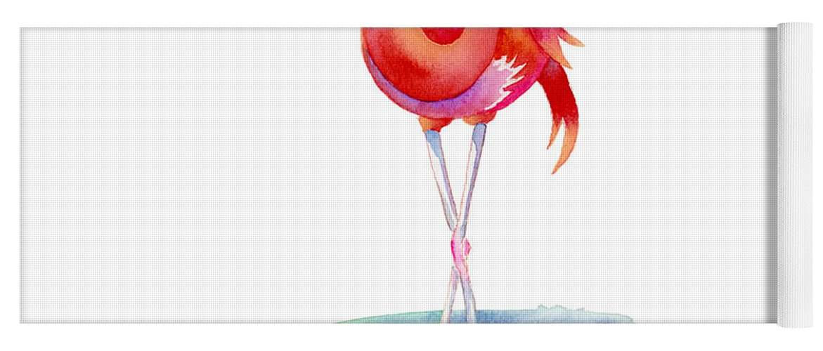 Flamingo Yoga Mat featuring the painting Flamingo Primp by Amy Kirkpatrick