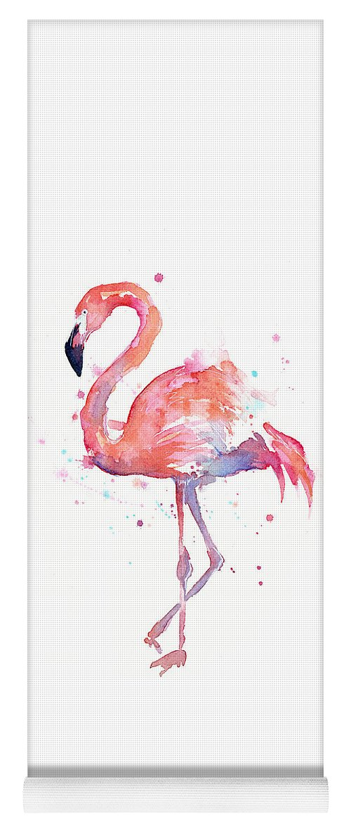 Bird Yoga Mat featuring the painting Flamingo Watercolor by Olga Shvartsur