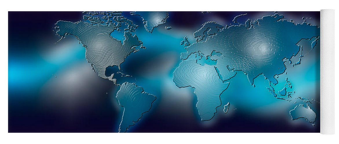 Flat world map on blue background yoga mat for sale by panoramic images photography yoga mat featuring the photograph flat world map on blue background by panoramic images gumiabroncs Gallery