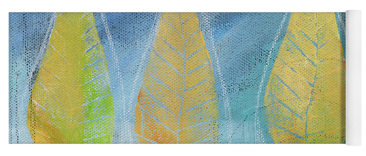 Abstract Yoga Mat featuring the painting Floating by Linda Woods