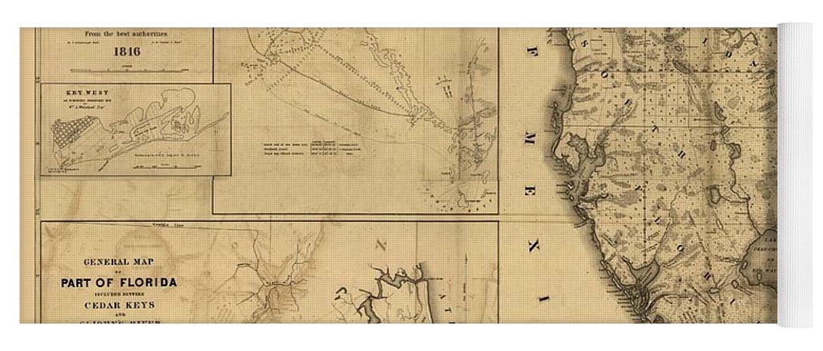 Antique Map Of Florida.Florida Map Art Vintage Antique Map Of Florida Yoga Mat For Sale
