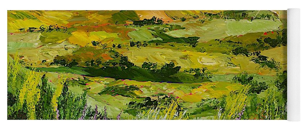 Landscape Yoga Mat featuring the painting Flower Gate by Allan P Friedlander