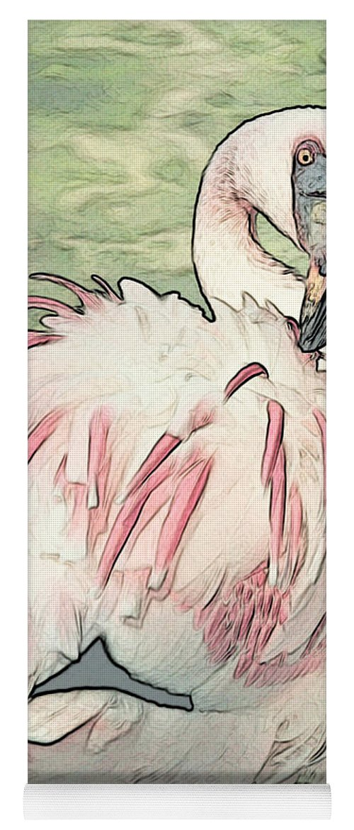 Flamingo Yoga Mat featuring the photograph Fluffing Flamingo by Carol Groenen