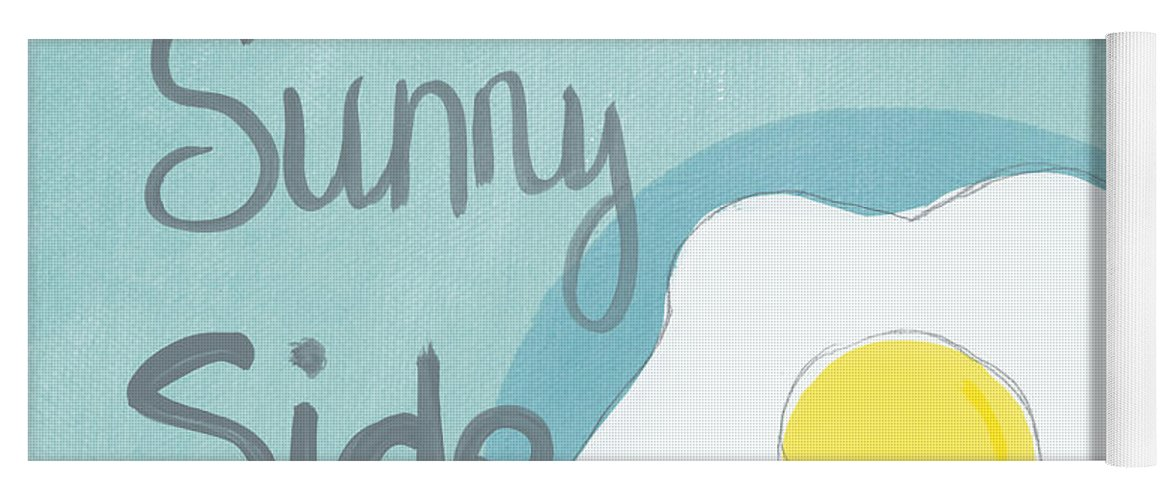 Egg Yoga Mat featuring the painting Food- Kitchen Art- Eggs- Sunny Side Up by Linda Woods