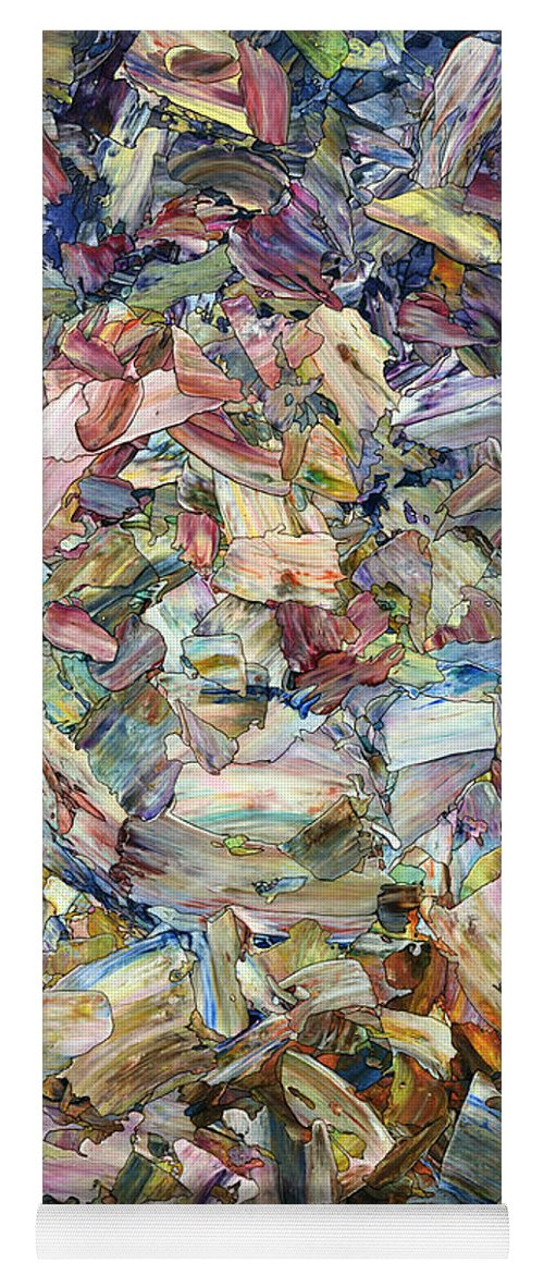 Abstract Yoga Mat featuring the painting Roadside Fragmentation by James W Johnson