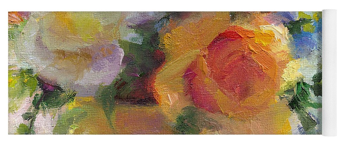 Roses Yoga Mat featuring the painting Fresh - Roses In Teacup by Talya Johnson