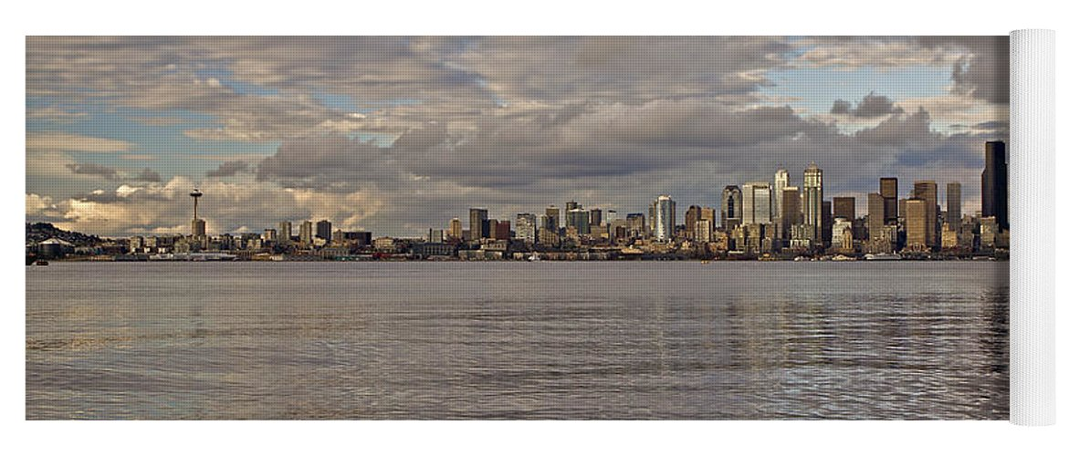 Sun Set Yoga Mat featuring the photograph from Alki Beach Seattle skyline by SC Heffner