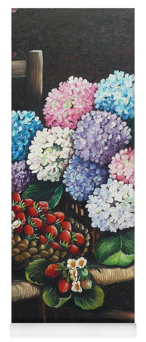 Hydrangea Paintings Floral Paintings Botanical Paintings Flower Paintings Blooms Hydrangeas Strawberries Paintings Red Paintings Basket Paintings Pink Paintings Garden Paintings  Blue Paintings  Greeting Card Paintings Canvas Paintings Poster Print Paintings  Yoga Mat featuring the painting From My Garden by Karin Dawn Kelshall- Best
