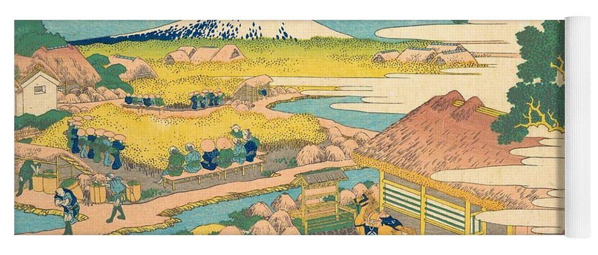 1830-1832 Yoga Mat featuring the painting Fuji From The Katakura Tea Fields In Suruga by Katsushika Hokusai