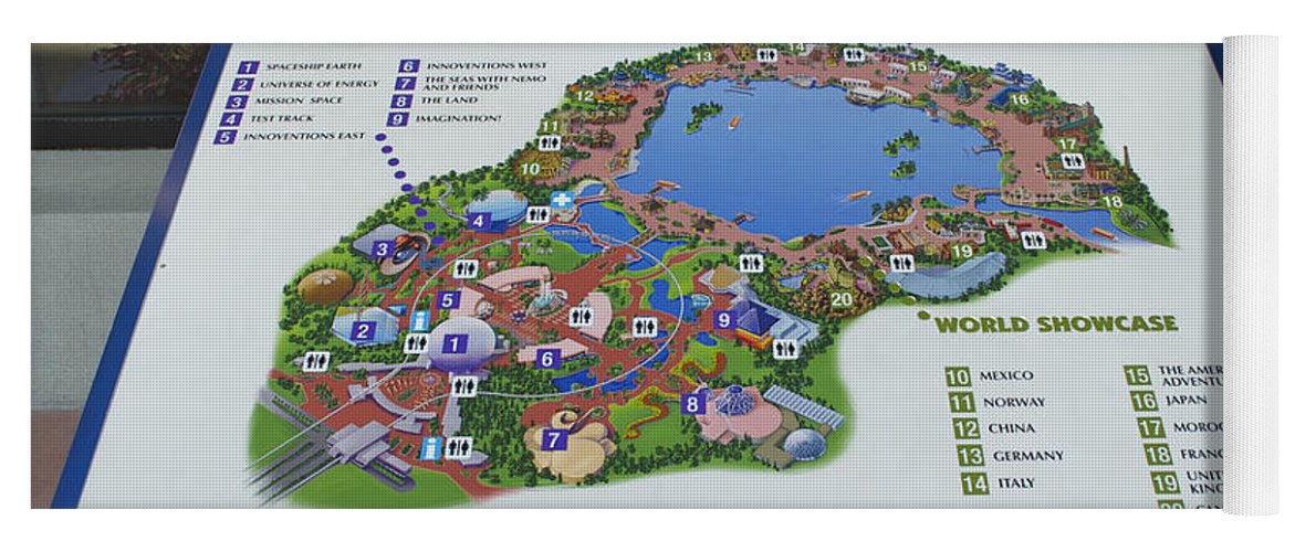 Future world map walt disney world digital art yoga mat for sale by wdw yoga mat featuring the photograph future world map walt disney world digital art by thomas gumiabroncs