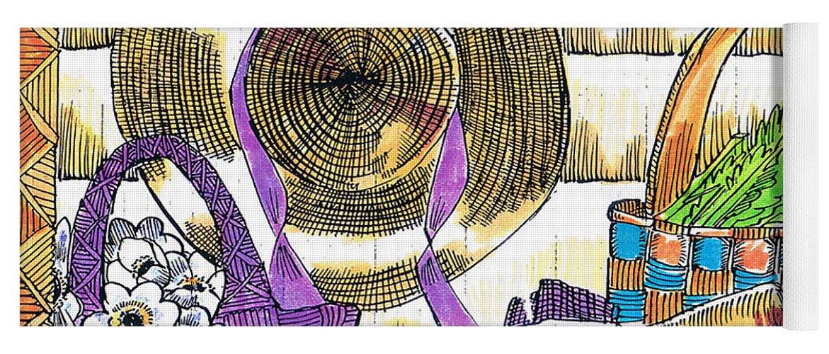Gardener's Basket Yoga Mat featuring the drawing Gardener's Basket by Seth Weaver