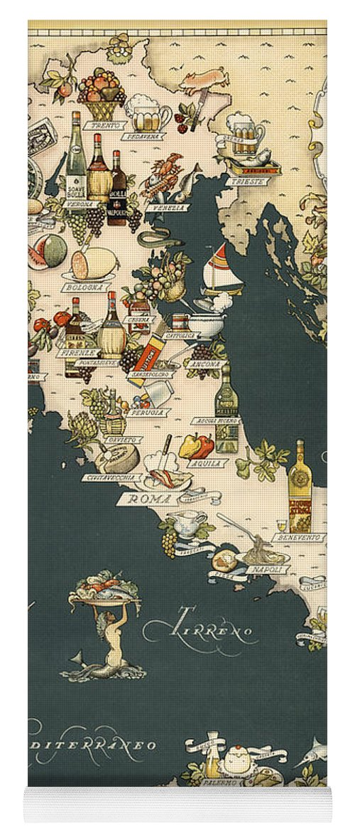 Gastronomic map of italy 1949 yoga mat for sale by andrew fare italy yoga mat featuring the photograph gastronomic map of italy 1949 by andrew fare gumiabroncs Image collections