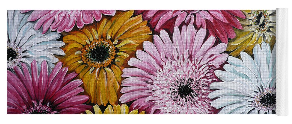 Flower Paintings Daisy Paintings Floral Paintings Blooms Color .gerbera Daisy Paintings Greeting Card Painting S Canvas Painting Poster Print Paintings Yoga Mat featuring the painting Gebera Daisies by Karin Dawn Kelshall- Best