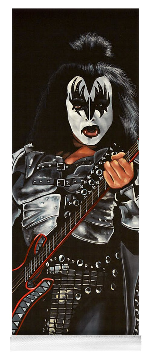 Kiss Yoga Mat featuring the painting Gene Simmons Of Kiss by Paul Meijering