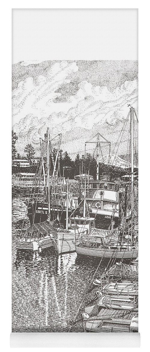 Yacht Portraits Yoga Mat featuring the drawing Gig Harbor Entrance by Jack Pumphrey