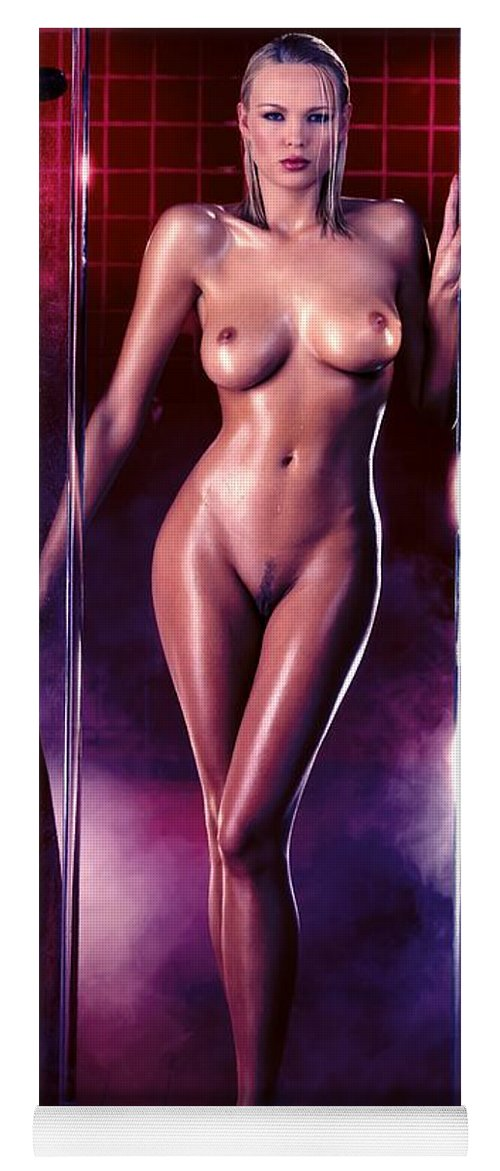 Digital Painting Yoga Mat featuring the digital art Girl in the shower 1 by Gabriel T Toro