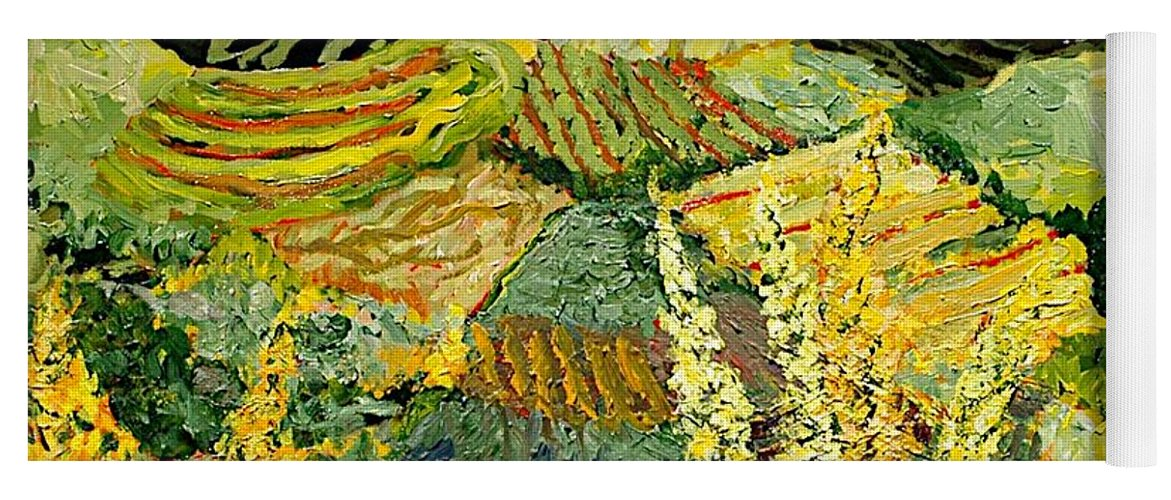 Landscape Yoga Mat featuring the painting Golden Hedge by Allan P Friedlander