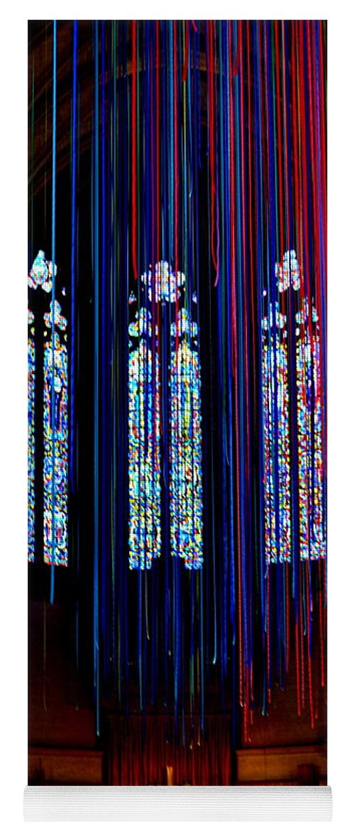 Grace Cathedral Yoga Mat featuring the photograph Grace Cathedral With Ribbons by Dean Ferreira