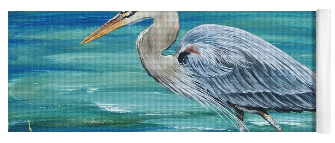 Blue Heron Yoga Mat featuring the painting Great Blue Heron-1a by Jean Plout