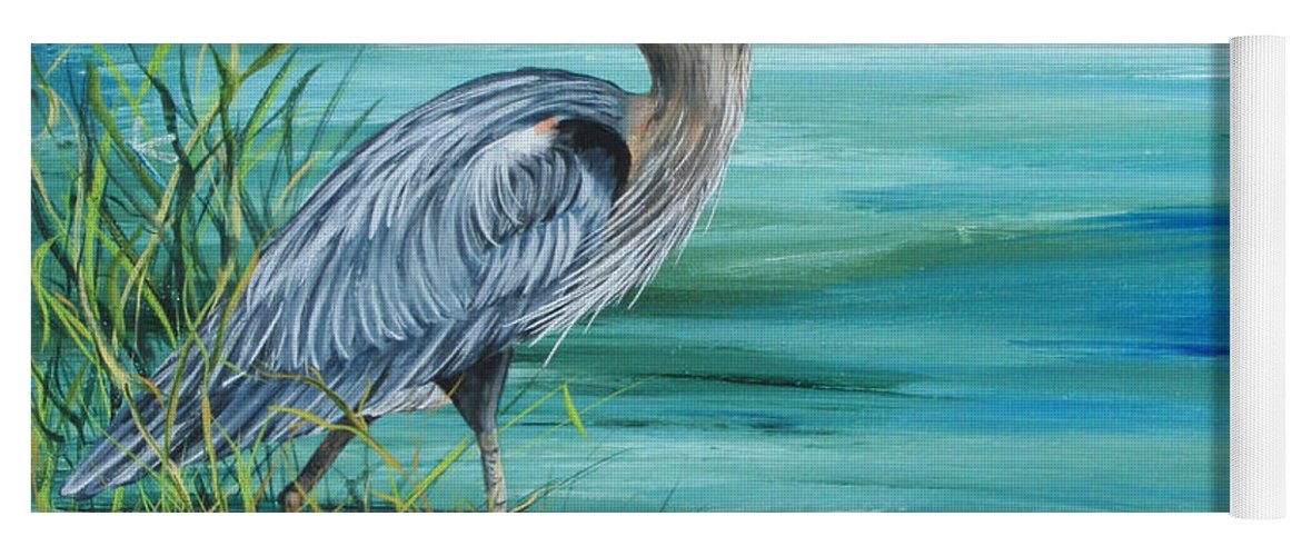 Blue Heron Yoga Mat featuring the painting Great Blue Heron-2a by Jean Plout