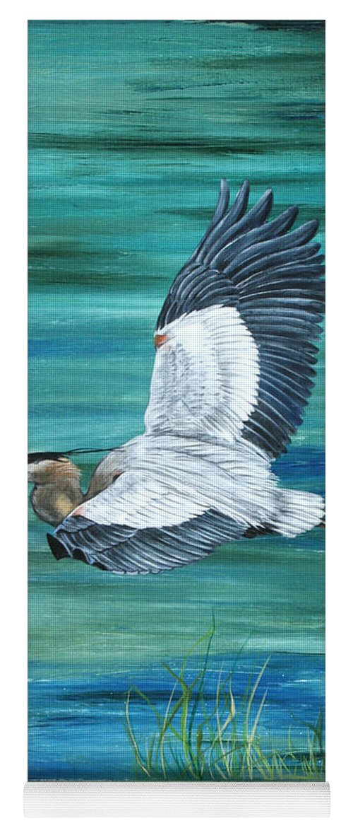 Botanical Yoga Mat featuring the painting Great Blue Heron 3 by Jean Plout