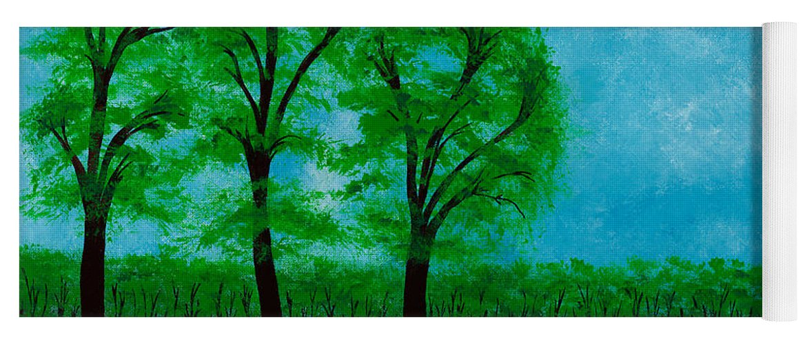 Landscape Yoga Mat featuring the painting Green Acres by Hillary Binder-Klein