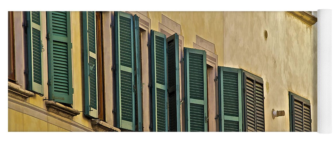 Carved Stone Yoga Mat featuring the photograph Green Window Shutters Of Florence by David Letts