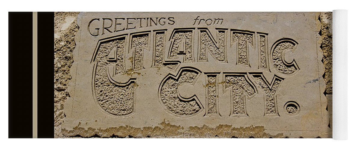 Greetings Yoga Mat featuring the photograph Greetings From Atlantic City by Tom Gari Gallery-Three-Photography