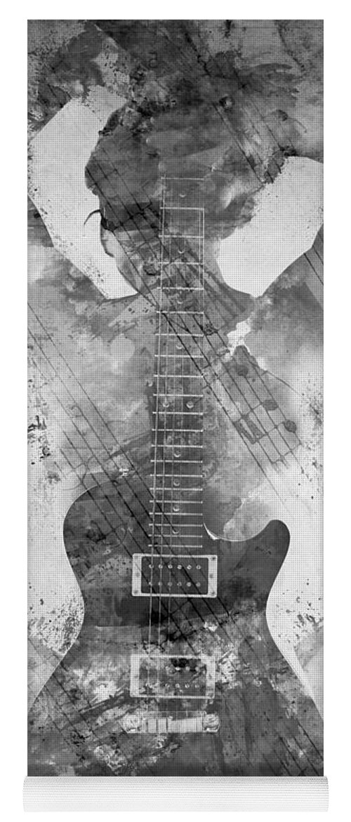 Guitar Yoga Mat featuring the digital art Guitar Siren In Black And White by Nikki Smith