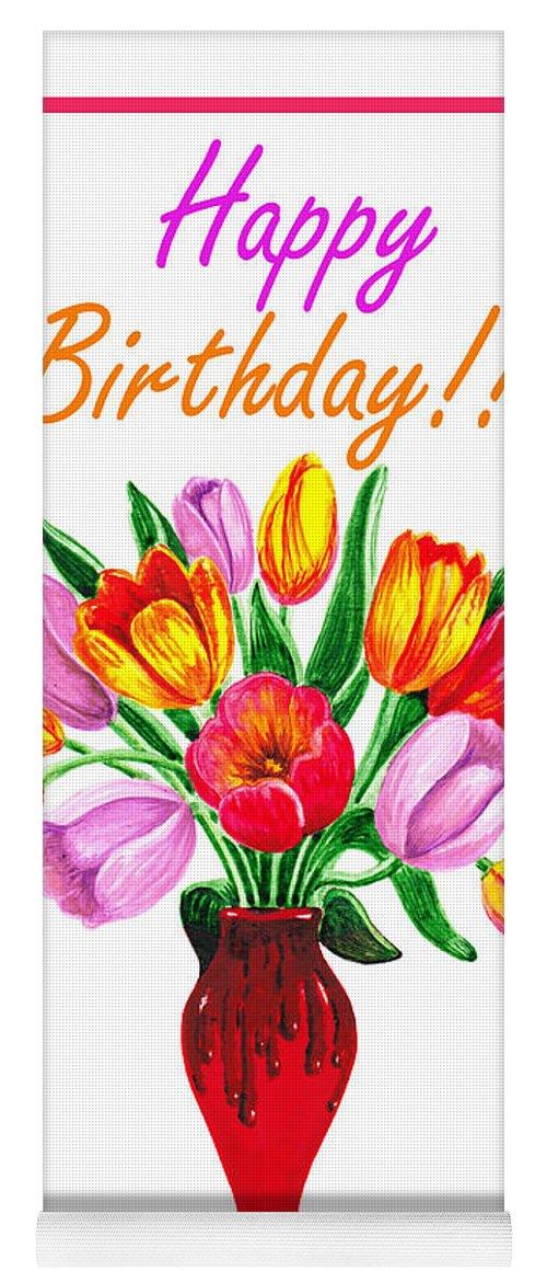 Happy Birthday Bouquet Yoga Mat for Sale by Irina Sztukowski