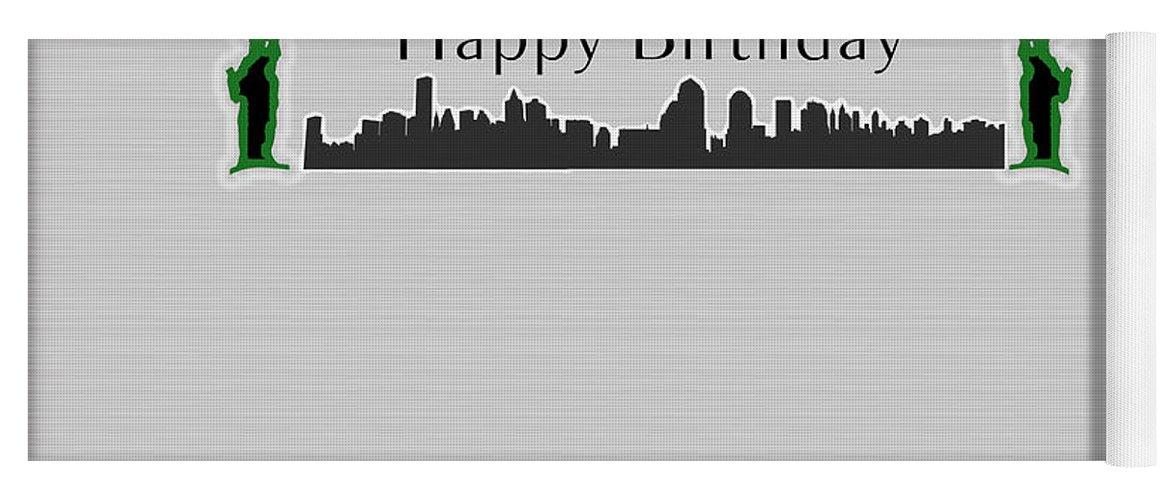 Happy Birthday Yoga Mat Featuring The Digital Art Card