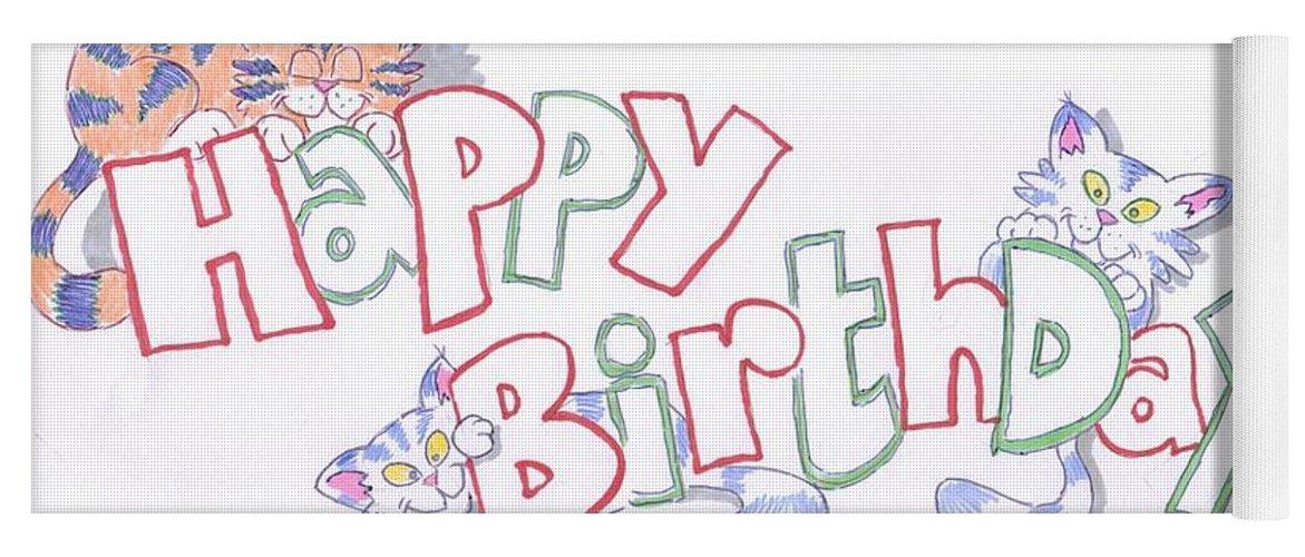 Happy Birthday Cats Yoga Mat