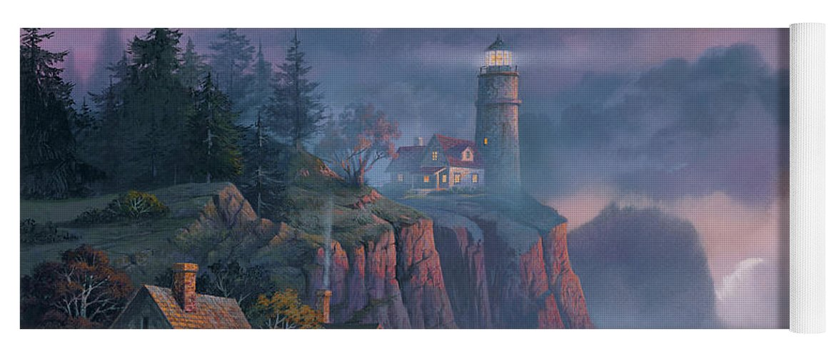 Michael Humphries Yoga Mat featuring the painting Harbor Light Hideaway by Michael Humphries