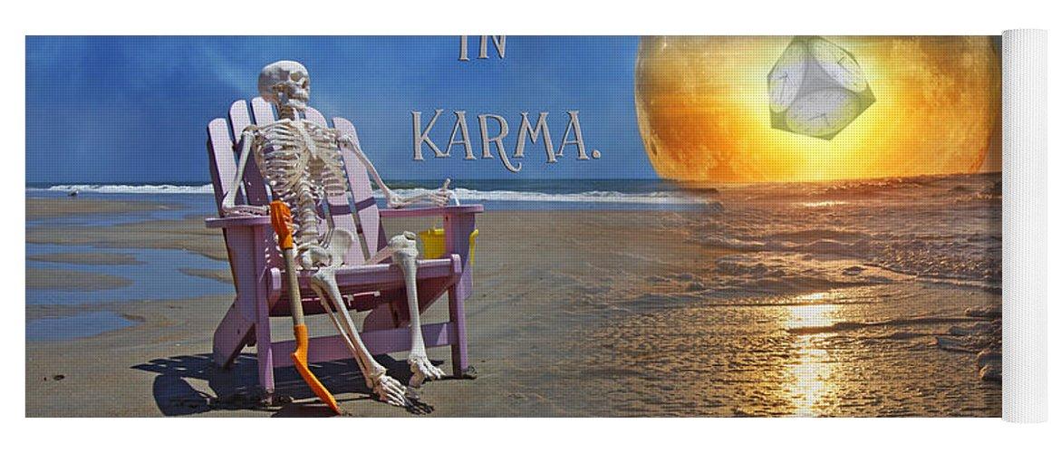 Karma Yoga Mat featuring the mixed media Have Faith In Karma by Betsy Knapp