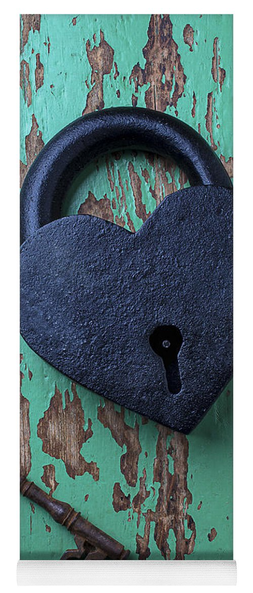 Heart Yoga Mat featuring the photograph Heart Lock And Key by Garry Gay