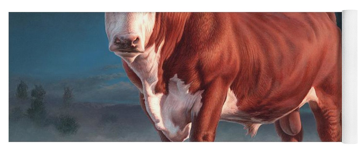 Hereford Bull Yoga Mat featuring the painting Hereford Bull by Hans Droog