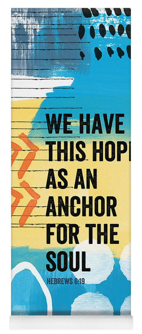 Hebrews Yoga Mat featuring the painting Hope Is An Anchor For The Soul- Contemporary Scripture Art by Linda Woods