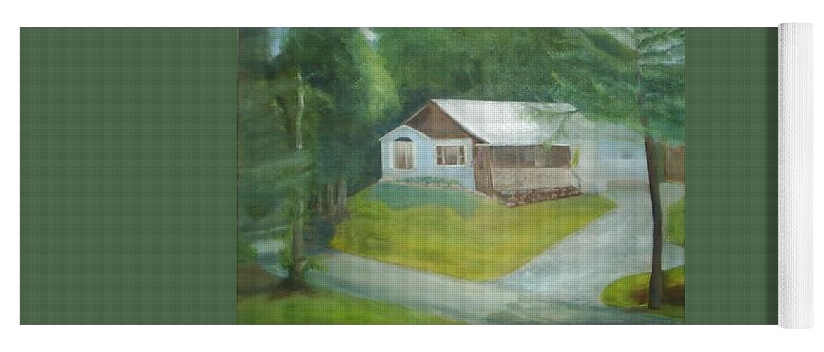 House Yoga Mat featuring the painting House on Hill by Sheila Mashaw