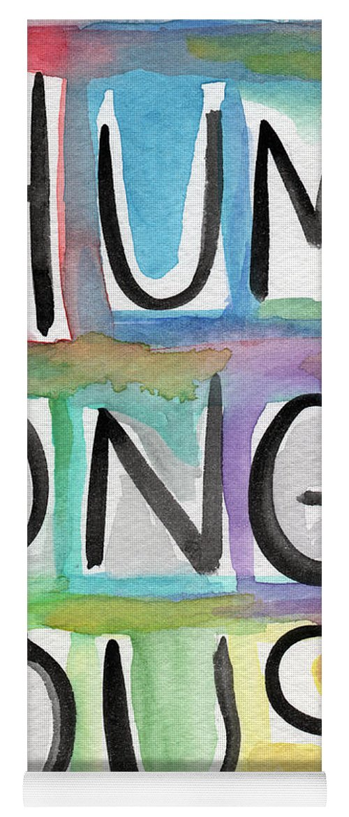 Word Art Yoga Mat featuring the painting Humongous Word Painting by Linda Woods