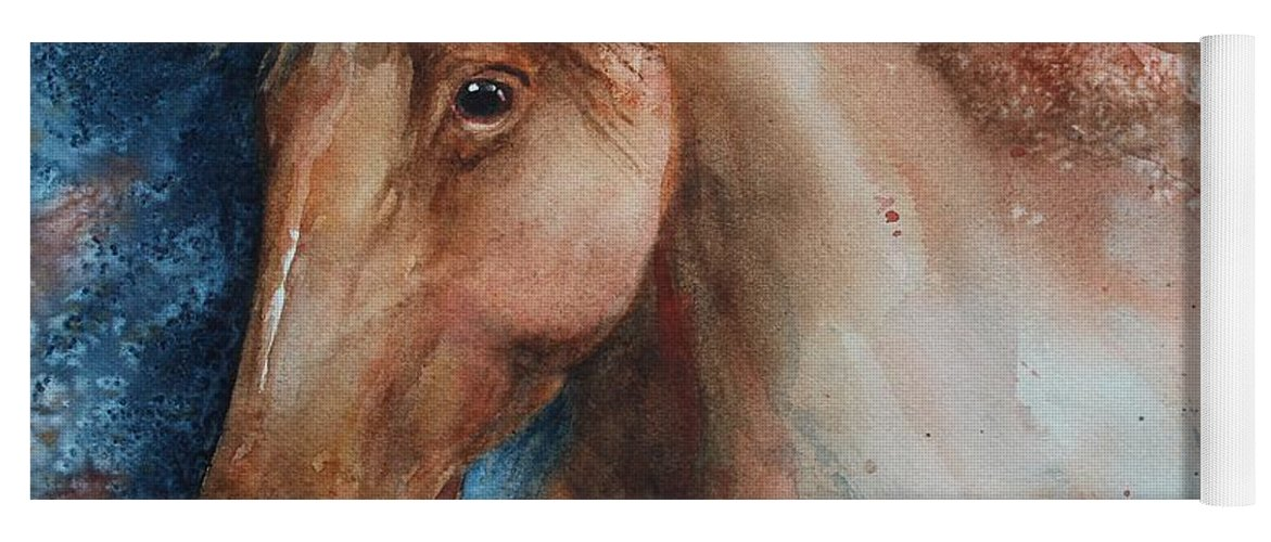 Horse Yoga Mat featuring the painting Hunter by Ruth Kamenev