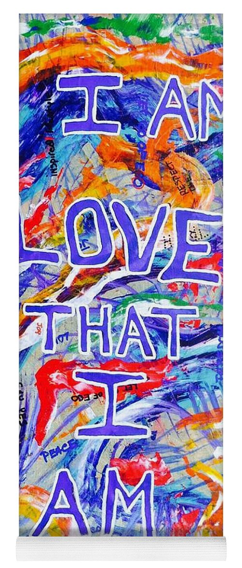 Abstractprints Yoga Mat featuring the painting I Am Love by Paul Carter