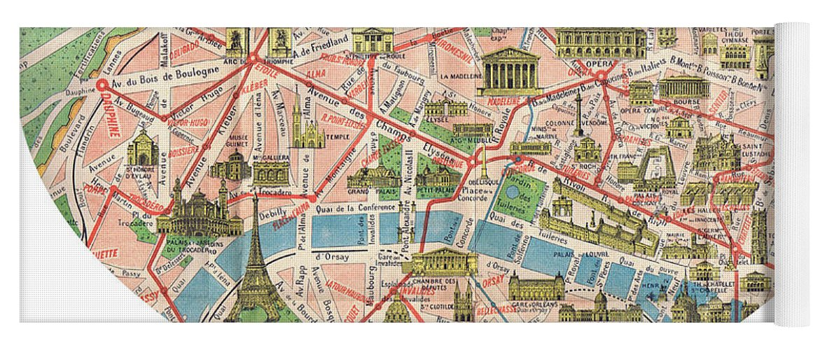 Paris Georgia Map.I Love Paris Heart Map Yoga Mat For Sale By Georgia Fowler