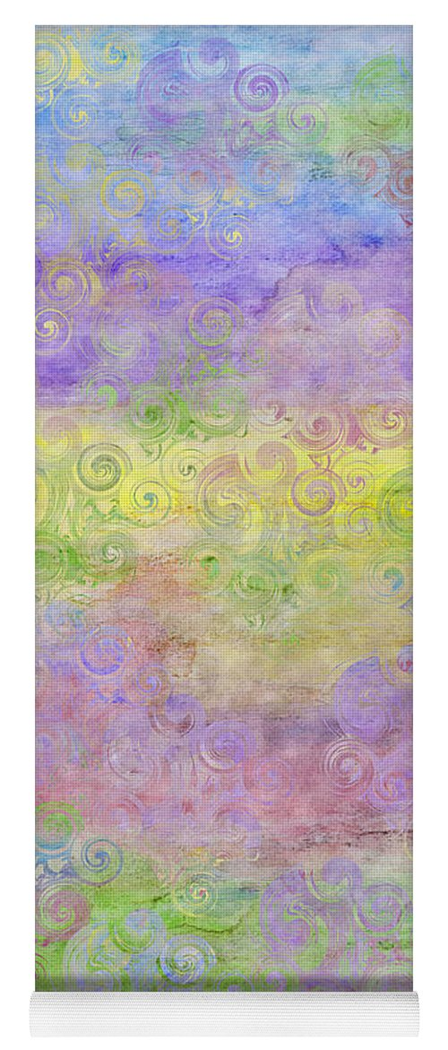 I Phone Case Of Soft Pastel Colors In A Horizontal Pattern With Swirl Pattern Overlay Yoga Mat featuring the digital art I Phone Case / Wall Art - Pastel Colors With Swirl Patterns by Debbie Portwood
